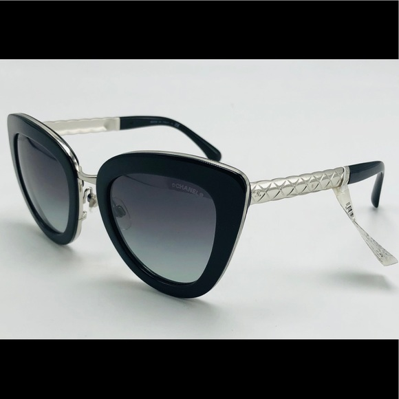 c127b5a1c62 NWT CHANEL Black   Silver Cat Eye Sunglasses 5368